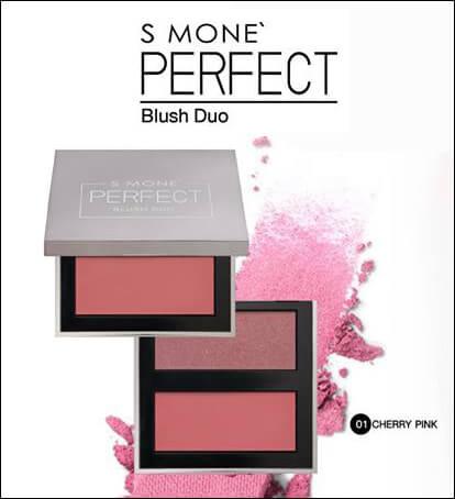 บลัชออน S Mone' Perfect Blush Duo เฉดสี 01 Cherry Pink (เชอรี่พิ้งค์)