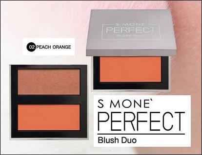 บลัชออน S Mone' Perfect Blush Duo เฉดสี 02 Peach Orange (พีซออเรนจ์)