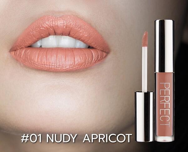 ลิปสติกเนื้อแมทกันน้ำ ติดทนนาน สี #01 Nudy Apricot