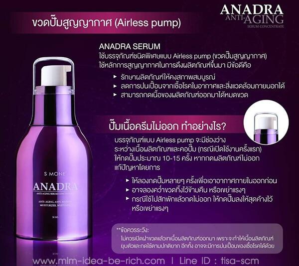 บรรจุภัณฑ์ของ Anadra Serum เซรั่มลดเลือนริ้วรอย